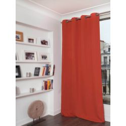Rideau Occultant Aspect piqué coton Orange Rouille MC374